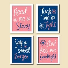 Cute Pink Navy Kiss Me Goodnight Quote Nursery Song Print Artwork Set of 4 Prints Wall Decor Art Picture. $38.50, via Etsy.