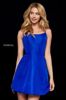 Royal Blue Sherri Hill Short Party Dresses