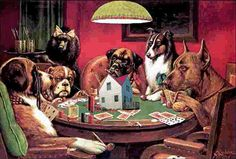 The ridiculous dogs playing poker painting in the basement of the bar near Great Lakes Naval Base Dogs Playing Poker, Cat Treats, Cartoon Dog, Living At Home, Animal Paintings, Dog Art, Dog Pictures, Collie, Dogs And Puppies