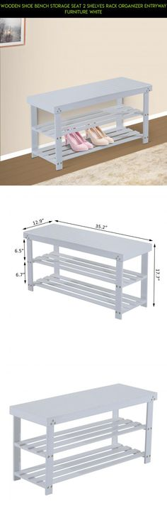 Wooden Shoe Bench Storage Seat 2 Shelves Rack Organizer Entryway Furniture White #technology #products #bench #camera #kit #parts #shopping #gadgets #drone #racing #storage #plans #tech #fpv #entryway