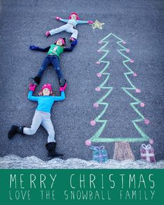 christmas card, chalk art, my family. :)