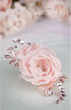 DIONA Rose Gold Blush Bridal Hair Flower With Crystal For Bridesmaid by TopGracia #topgraciawedding #bridalhair #bridalhairflowers #weddingheadpiece #bridalheadpiece