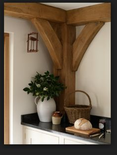 that would look nice in my future kitchen (if all goes to plan) exposed oak beams,granite work tops, kitchen units, Rustic Home Design, Rustic Style, Bohemian Style, Boho Chic, Shabby Chic, Border Oak, Timber Posts, Oak Frame House, Post And Beam