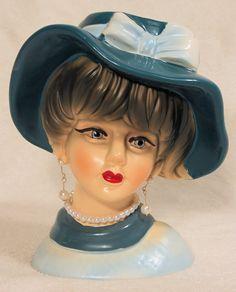Beautiful Vintage Victorian Lady Head Vase