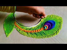 Satisfying rangoli art video/krishana janamastmi special rangoli - YouTube