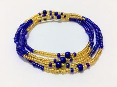 Royal Blue & Gold Waist beads Body jewelry Belly bead