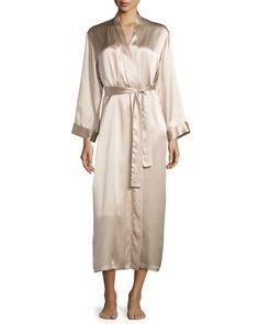 Gabriella Long Silk Robe, Beige, Women's, Size: XL - Vivis