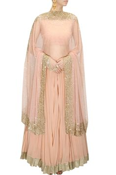 INTRODUCING : Peach and gold sequins embellished lehenga set by Astha Narang. Shop now at www.perniaspopupshop