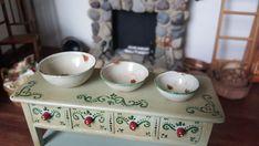 Dollhouse Artisan Mary Carson Hammer Smith miniature Enameled Nesting Bowls 1:12 #HammerNSmith