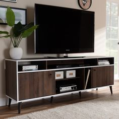 Mid-Century Modern Brown and White TV Stand - Staci | RC Willey Furniture Store