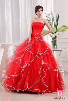 Strapless red ballgown formal dress