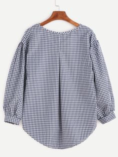 SheIn offers Checkered Bow Tie High Low Blouse & more to fit your fashionable needs. Blouse Styles, Blouse Designs, Cute Fall Outfits, Casual Outfits, Red Long Sleeve Tops, Designs For Dresses, Clothes For Women, Fall Clothes, High Low