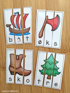 """Formålet med """"Vi sorterer""""-serien er å gi elevene trening i grunnleggende norsk. Oppgavene i serien er direkte knyttet til kompetansemål i norsk etter 2.trinn. Serien dekker en rekke ulike tema hentet fra norskfaget, samt ulike kulturelle tema. Den er laget for å brukes på stasjoner, i par-arbeid eller i en-til-en-undervisning / spes.ped – med fokus på bokstaver, lyder og/eller ord!"""