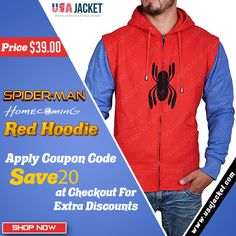 Upgrade your style with replacing your old Spiderman Costume and attiring this new Peter Parker Spiderman Homecoming Red Hoodie. Spiderman Hoodie, Spiderman Costume, Parker Spiderman, Red Suit, Red Hoodie, Soft Fabrics, Homecoming, Your Style