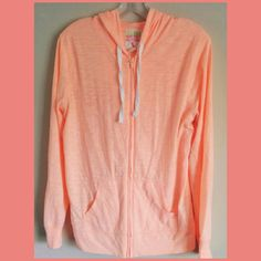 Old Navy Lightweight Neon Summer Hoodie Jacket M Medium orange/peach neon zip-up jacket hoodie. Great for layering, California collection. Some pilling on front/underarms. See last pic for details. Old Navy Jackets & Coats