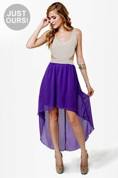 LULUS Exclusive Get My Drift Taupe and Purple Dress