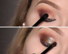 How to Put Glitter on the Eyes   Rihanna Work Makeup Tutorial, check it out at http://makeuptutorials.com/rihanna-work-makeup-tutorial