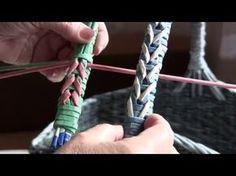 Cesteria con periodicos. Entrelazamiento para el agarradero. Parte 17. - YouTube