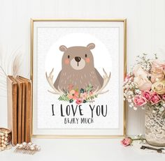 Woodland Nursery wall art print nursey bear Wall art Decor bear illustration nursery decoration quotes bear valentines print ID114-119 by LittleEmmasPrints on Etsy https://www.etsy.com/listing/229860372/woodland-nursery-wall-art-print-nursey