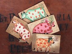 Hand-painted Vintage Indian Postcard - Holy Cows