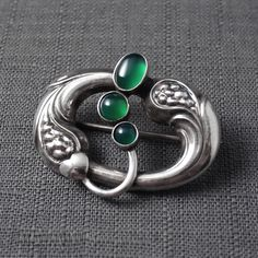 Georg Jensen No 77 Sterling Silver Brooch Pin with Green Agate