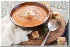 Roasted Garlic Sundried Tomato Soup with Grilled Truffle Cheese Croutons