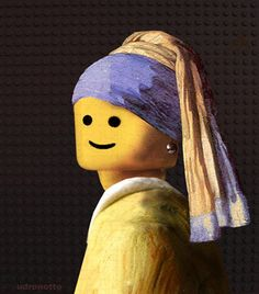 Brick Art: The Mona Lisa (and other masterpieces) made out of Lego : Just had to pin this for my LEGO loving son! You could have a lot of fun with LEGO heads and other portraits. Johannes Vermeer, Lego Painting, Girl With Pearl Earring, Pearl Earing, Lego Head, Brick Art, Lego Girls, Famous Artwork, Art Plastique