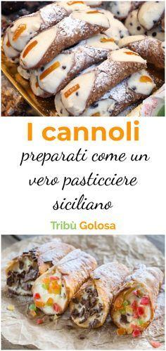 Cannoli, Ricotta, Italian Desert, Dinner Recipes, Dessert Recipes, Zucchini Pizzas, Sicilian Recipes, Bakery, Treats