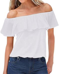 ZANZEA Blusa Camiseta Casual Elegante Verano Algodón Cuello Campesino Barco Manga Corta para Mujer Blanco EU 36