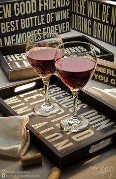 Wine trays and signs.