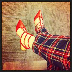 #plaid and @Valentino #Rockstud kitten heels