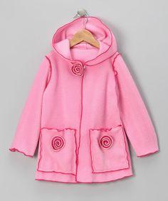 Look at this #zulilyfind! Pink Flower Fleece Jacket - Infant, Toddler & Girls #zulilyfinds