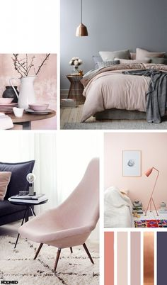 Colorboost: poeder roze met een stoere toevoeging Colorboost: a color palette for your interior with powder pink and bronze – Roomed Living Room Color Schemes, Paint Colors For Living Room, Best Bedroom Colors, Room Interior, Interior Design, Interior Colors, Luxury Interior, New Room, Room Inspiration