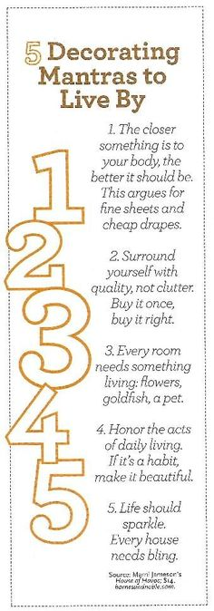 "[home decor] five mantras ""simple, easy to remember and very helpful!"""