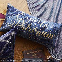 PB Teen HARRY POTTER(TM) Expecto Patronum Pillow Cover, 12x24 (49 CAD) ❤ liked on Polyvore featuring home, home decor, throw pillows, woven throw pillows, blue throw pillows, pbteen, star throw pillow and blue accent pillows