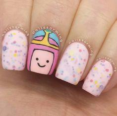 Princess bubblegum nails by @Nailstorming