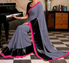Georgette Grey Embroidered Border Work Bollywood Style Saree