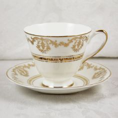Vintage Crownford White and Gold Bone China England by scdvintage, $12.00