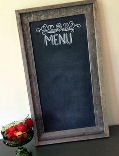 Hand Painted, Usable Chalkboard Menu Sign For the Home, Weddings, or Events- Shabby Chic via Etsy. chalkboards, chalkboard signs, shabby chic, menu boards, rustic kitchens, rustic weddings, menu sign, wood frames, chalkboard menu