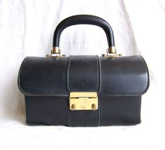 Vintage Jaclyn box purse dome top black by AntiqueAddictions, $39.99