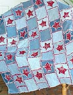Interesting take on a rag quilt using old jeans.  Would be great for using on the grass for picnics.