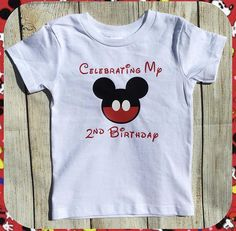 Celebrating My Birthday Shirt Youth Toddler Infant Boy Mickey Mouse Bow Disney Kids World Land Trip Party- Any Age Can Be Done by CraftySouthernNurse