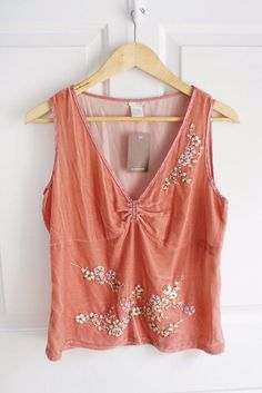 nwt ANTHROPOLOGIE ODILLE sz 12 beaded velvet silk trim tank in peachy pink #Anthropologie #KnitTop