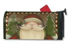 """COUNTRY SANTA SNOWFLAKES CHRISTMAS HOLIDAY MAGNETIC MAILBOX COVER & 1"""" NUMBERS"""