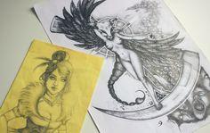 Desenhos inacabados   alineando.com.br #desenhos #ilustração #lady #morte #drawing #nankin #death #lamuerte #illustration