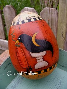Handpainted Primitive Egg Crow Make Do for Fall by OakleafHollow, $16.00