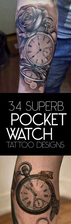 The Best Pocket Watch Tattoo Designs   TattooBlend