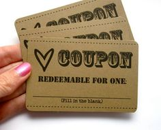 3 Love Coupons. Perfect for Valentines day! $2.50, via Etsy.