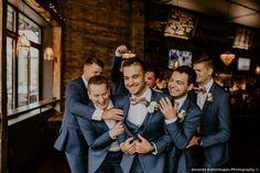 Groomsmen photo inspiration, fun photography with blush bowties