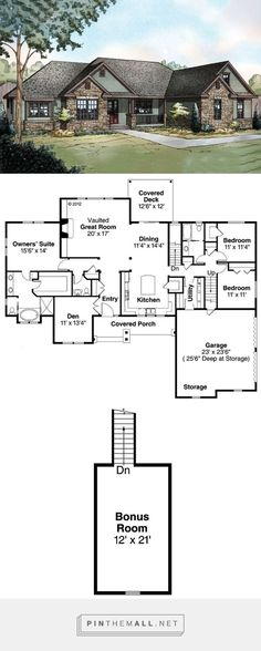 Ranch Style House Plan - 3 Beds 2.50 Baths 2283 Sq/Ft Plan #124-887 - created via https://pinthemall.net